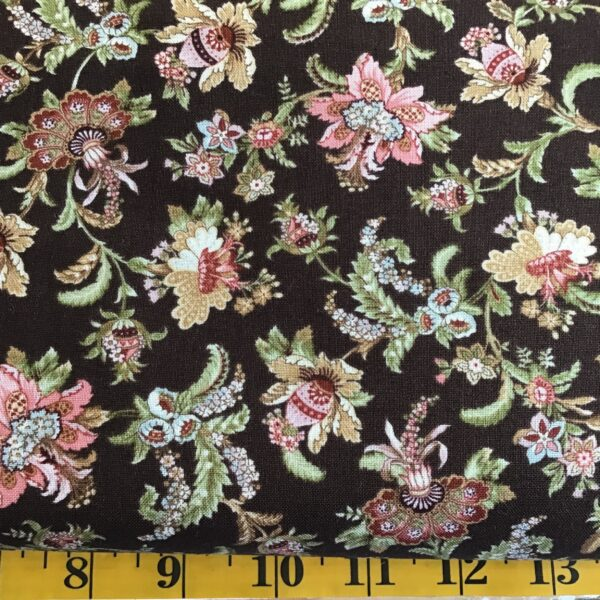 Benartex ANTOINETTE Floral on Brown 129277