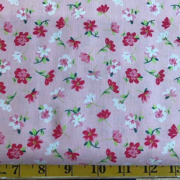 rbc9006 Bunnies & Flowers Riley Blake flower scatter pink