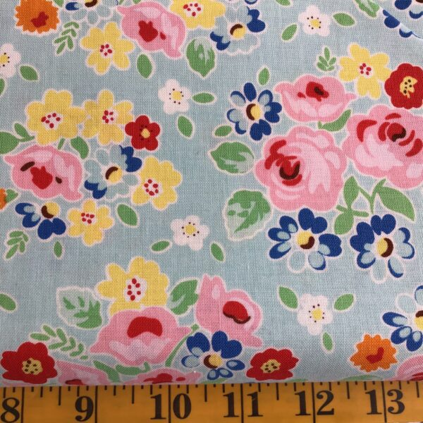 RBC7940 Bluebirds on Roses by Riley Blake Floral scatter aqua