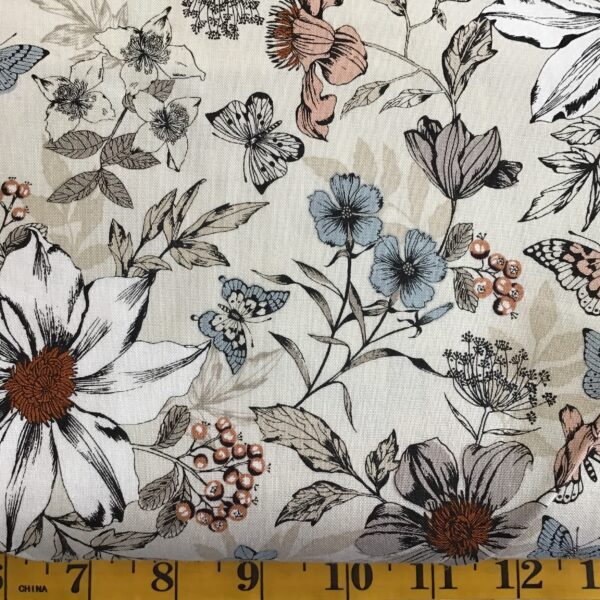 1862 BOTANICA EXOTIC Florals Multi on cream by Makower