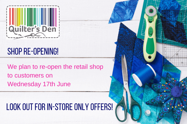 Shop reopening on Weds 17th June at 10am
