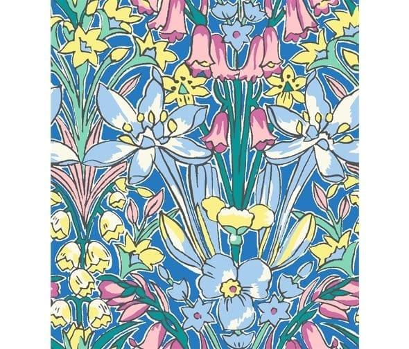 Liberty Flower Show 16B Adlington Hall Blue green yellow fabric