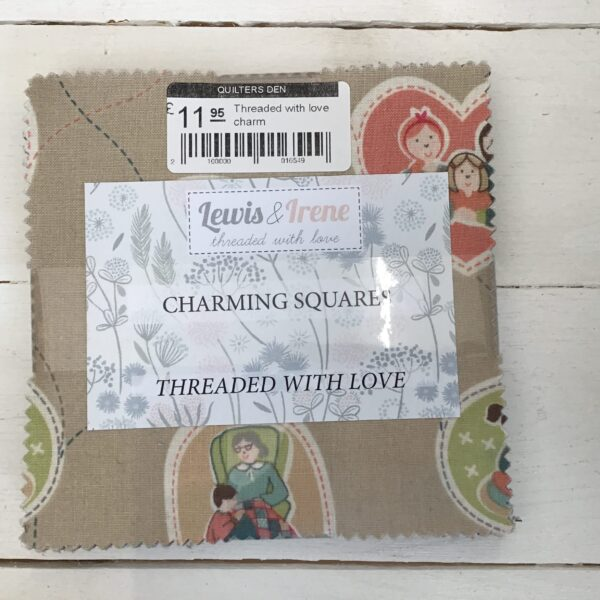 Threaded with love charm by Lewis and Irene beige grey red multi