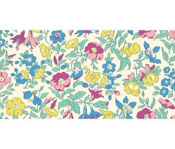 Liberty Flower Show 24B Mamie Pink yellow green blue fabric