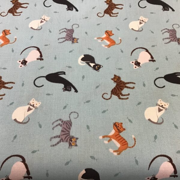 Small Things...Pets SM283 Cats on aqua blue by Lewis and Irene fabric