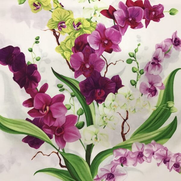 Orchid Fancy CWY29451 60cm Square Panel Purple, pink, white, green by Clothworks