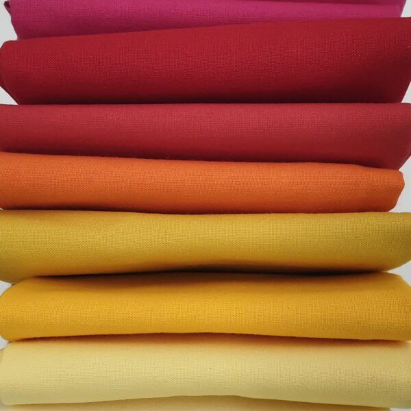 Solid Warm Reds Bundle plain fabric. 9 Fat Quarters including Fuchsia, Orange, Gold Yellow