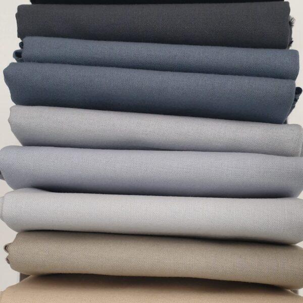 Solid Neutrals Bundle Plain fabric. 9 x Fat Quarters Black Grey Beige