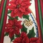 POINSETTIA STRIPE Red Green on Cream Christmas Fabric
