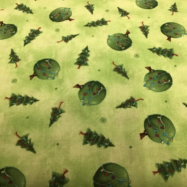CHRISTMAS TREES BY STACEY YACULA Green Fabric