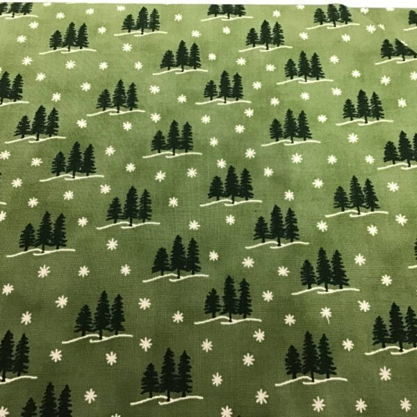 Holiday Lodge 1989513 Green pines on green Moda fabric