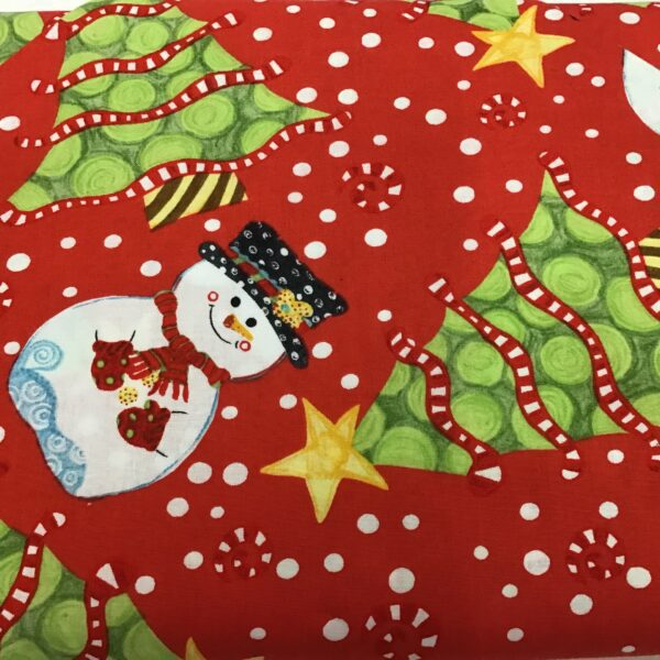JOLLY HOLIDAY SNOWMAN on Red fabric Christmas