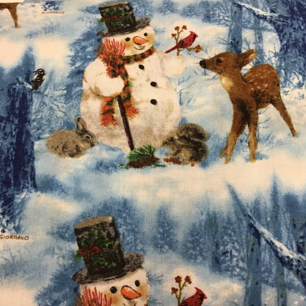 FROSTY FRIENDS Snowman fabric on blue Christmas