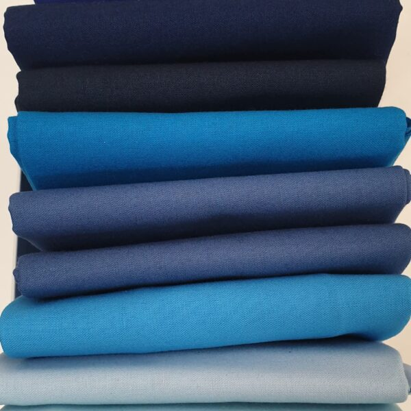 Solid Cool Blues Bundle Plain Fabric. 9 Fat Quarters incl. Midnight, Denim, Sea and Sky Blue