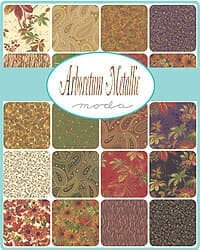 Arboretum 33534 Berries Cream Red gold metallic by Moda fabric