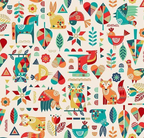 Folk Friends 2300Q Animals Cream by Makower fabric