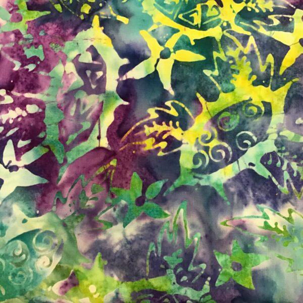 Textile Merchant Batik 42 Aqua blue green purple hand dyed fabric