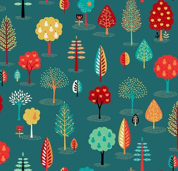 Folk Friends 2305T Trees Turquoise by Makower Fabric