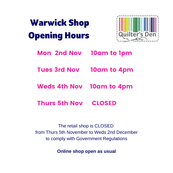 Special Opening Hours w/c 2nd November