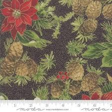 Poinsettias and Pine 3351014M Ebony Flower red black fabric
