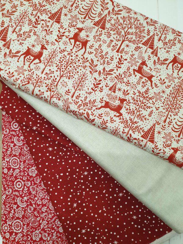 Cushion Fabric Kit - Christmas Scandi Red