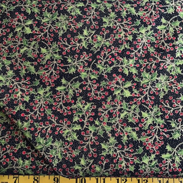 Poinsettias And Pine 33514m Ebony Poinsettia Black Red With Gold By Moda Fabric