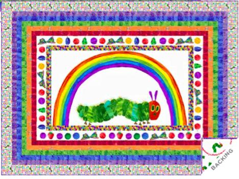 Hungry Caterpillar 29597L Panel 60cm (23.3″) White by Makower fabrics. Price per Panel