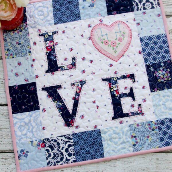 Floral Love Valentines Mini Quilt