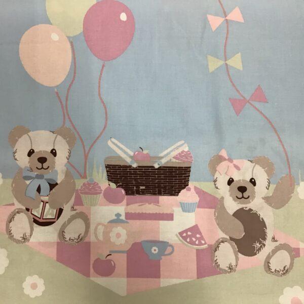 TEDDY BEAR PICNIC 60cm panel pastels