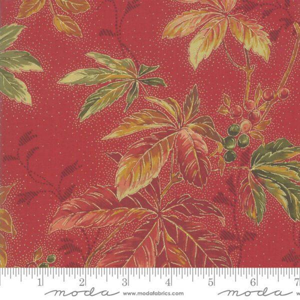 Arboretum 3353014M Berry Leaves red orange metallic by Moda fabric