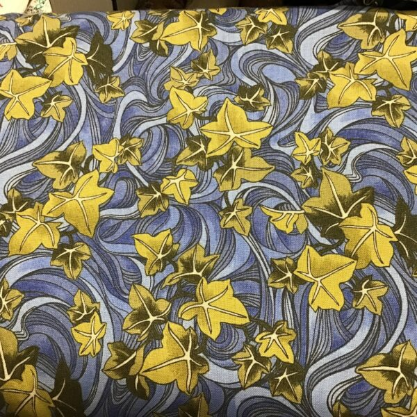 AGE OF ELEGANCE F860 yellow ivy on blue fabric