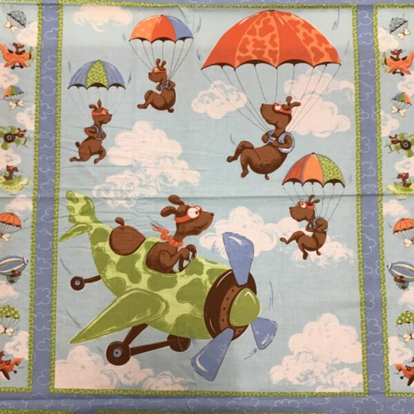 Suzybee  SB20001 Flying Dogs on blue clouds 90cm panel