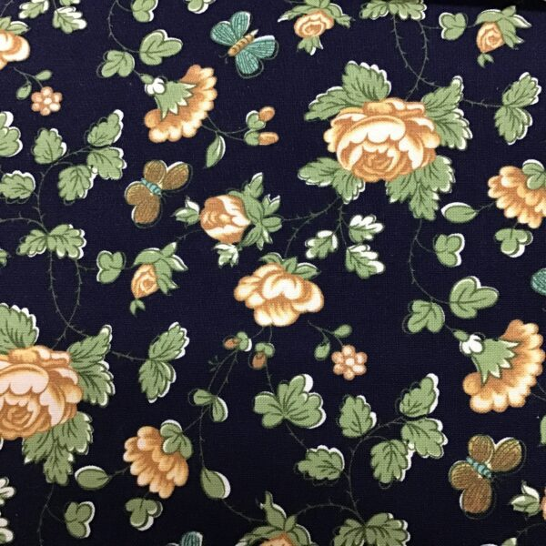 FLOWERPOT yellow Roses and butterflies on navy fabric