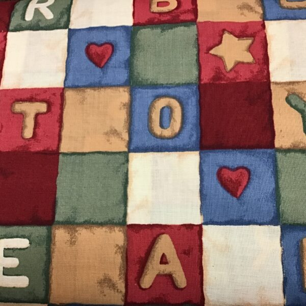 TEDDY AND TOYS QUILT BLOCKS multi fabric