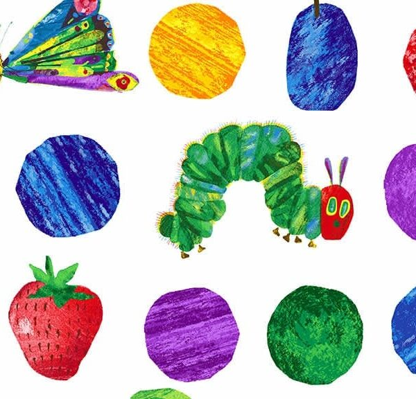 Hungry Caterpillar 7232X Fruits and Dots Large by Makower fabric