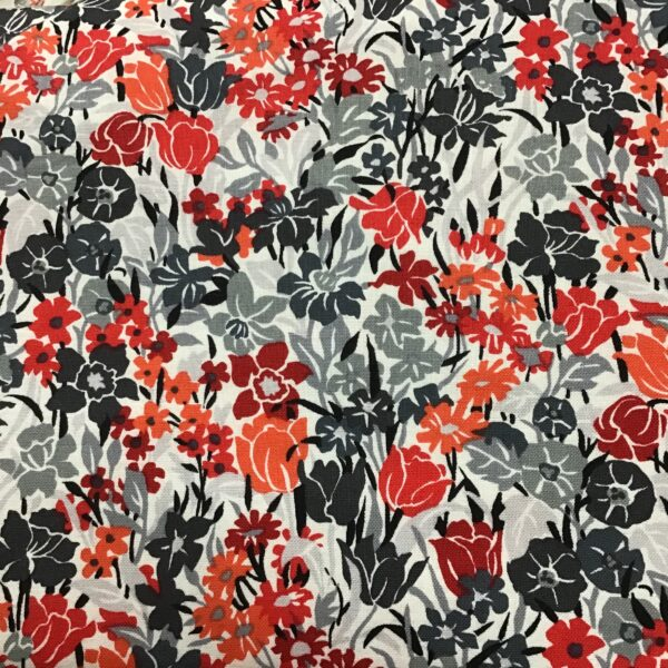 SUMMER OF LOVE F401 red orange grey floral fabric