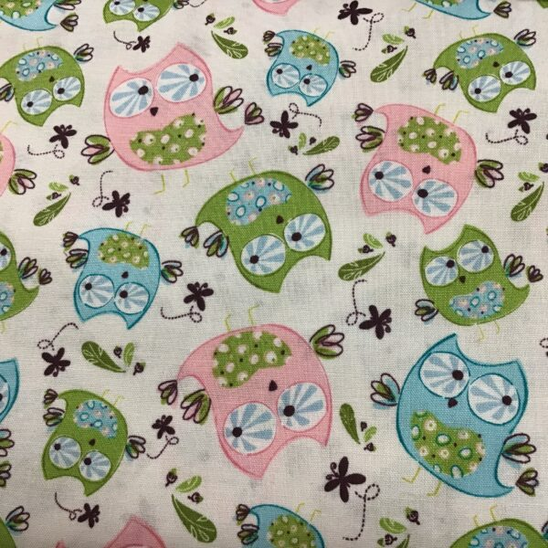 Whoos Cute Owls on cream background fabric