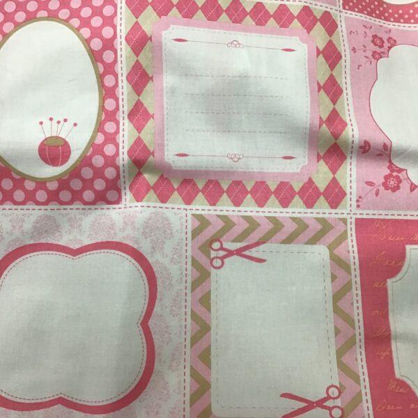 SEW LABELS Pink quilt labels 21 labels per 50cm panel