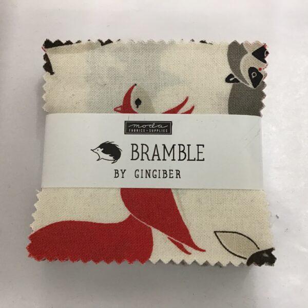 Moda Mini Charm Bramble Cream Red Grey Squirrel Hedgehogs