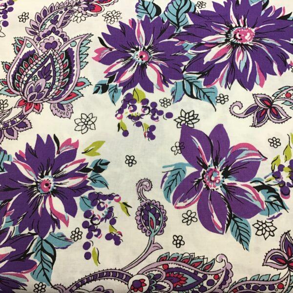 Cassandra Paisley Y2616 Floral Purple Pink Aqua on white by  Clothworks fabrics