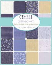Chill 5″ Charm Pack Blue Cream Metallic  by ZEN CHIC for Moda