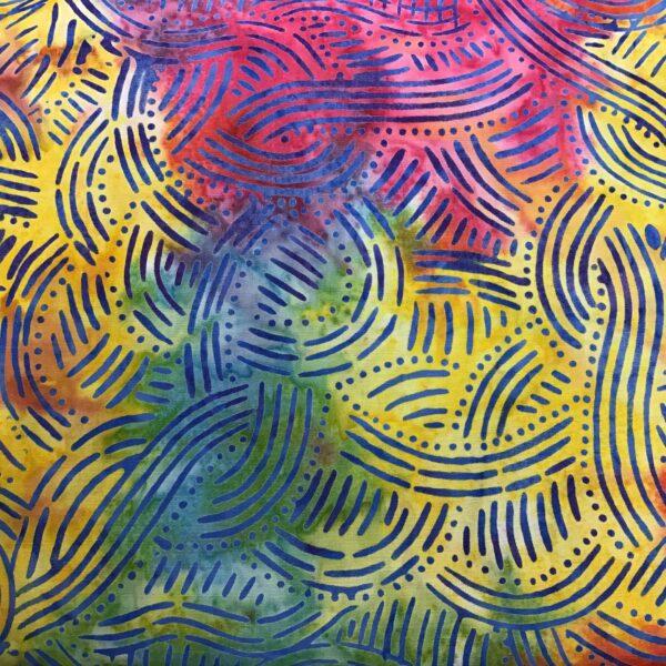 Batik Waves Multi Red Yellow Blue fabric