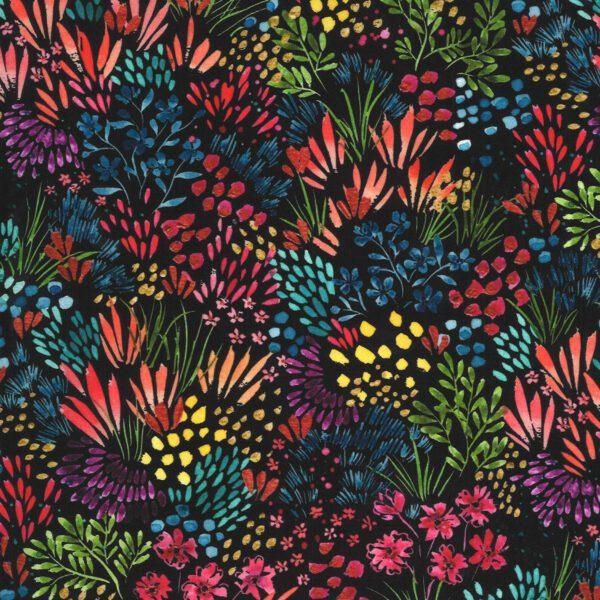 Moody Bloom 844412D Multi leaves on Black by Create Joy for Moda Fabrics
