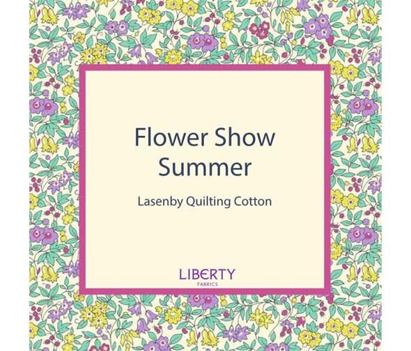 liberty flower show 19c emily silhouette flower blue fabric