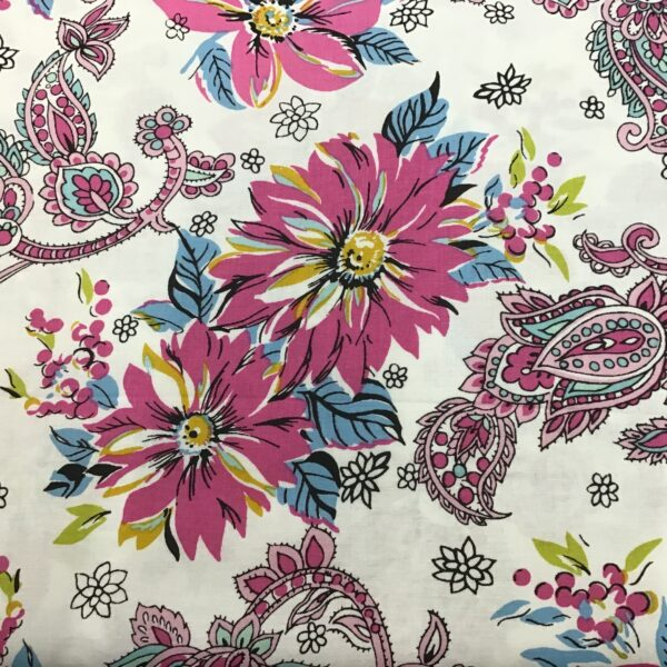 Cassandra Paisley Y2616 Raspberry Pink Aqua by Clothworks fabric