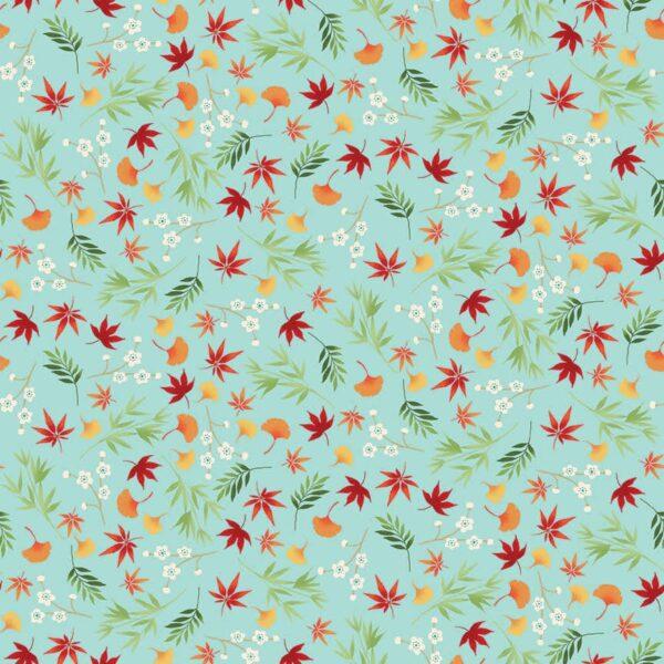 Michiko 2333T Leaf Foliage on Turquoise by Makower fabric