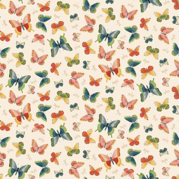Michiko 2334Q Butterflies on Cream by Makower fabric