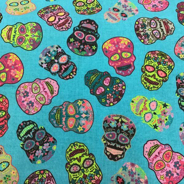 Sugar Skulls 80220 Multi on Turquoise by Nutex fabrics