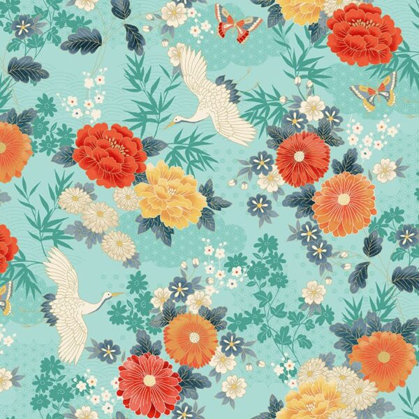 Michiko 2330T Cranes Large Floral Coral on Turquoise by Makower fabric