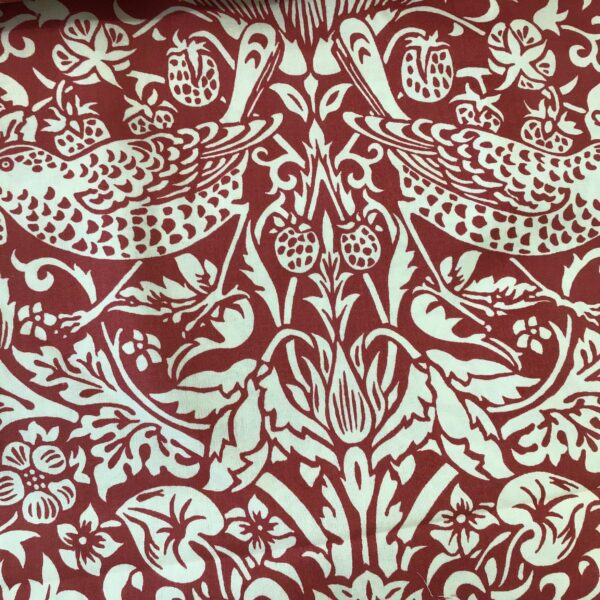 "morris strawberry thief 108"" wide red cream"